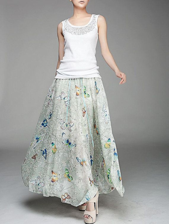 Maxi skirt chiffon pleated dress