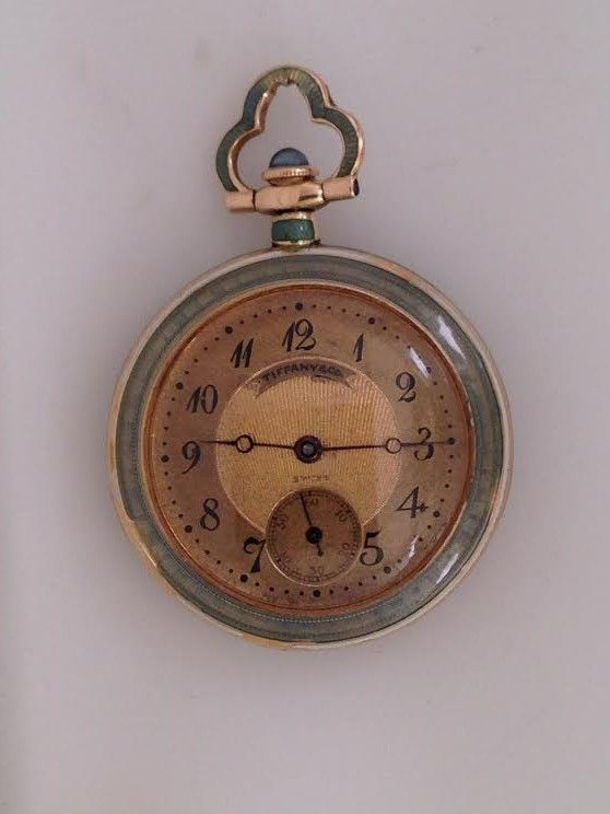 18K Tiffany pendant watch with enamel *click for link or to request pricing #santabarbarajewelry #Tiffany #pendantwatch #watch #enamelwatch #antiquewatch