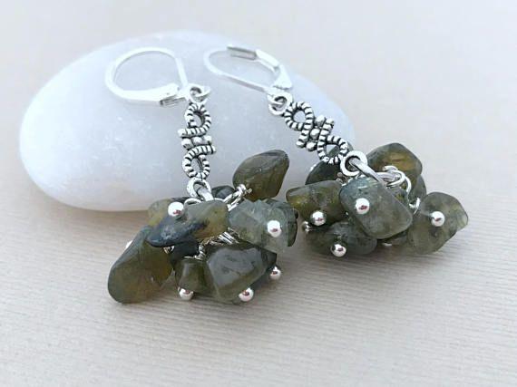 Silver Labradorite Earrings Drop Gemstone Earrings Boho
