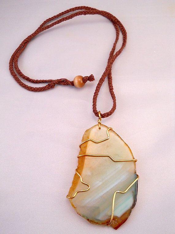 NEW! Brown Hemp Gold Wire Wrapped Agate Slice by PeaceLoveNKnottyHemp