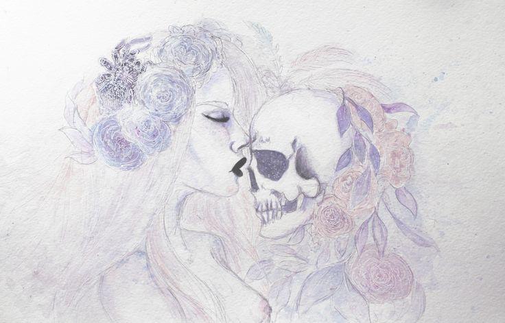She kissed death  My art work ~  Instagram @bebemarie00