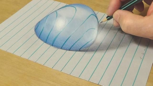Very Easy Drawing Big Water Drop On Lined Paper 3d Anamorphic