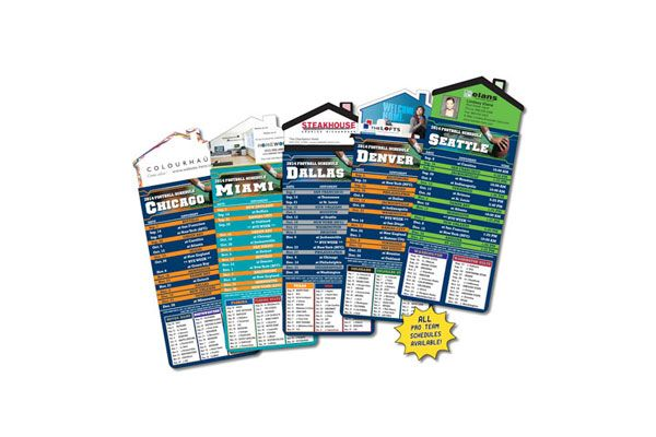 Reinforce your next business pitch by closing the deal with a custom house shape magnet with pro football schedule card. This magnetic promotional product features a personalized house shaped magnet with a pro football team schedule card of your choice attached.  The professional football schedule magnets are a real estate agent magnet must have! #wgmagnets