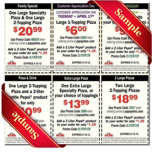 Papa Johns Coupons All Active Papa Johns Promo Codes & Coupons - Up To 40% off in December Papa Johns is known for its famous pizza and Superbowl commercials. If you're pre-paying for your order and if your order is eligible for it, you will be able to use your Papa John's promo code simply by copying and pasting it as indicated.4/5(2).