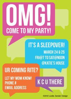13th birthday sleepover invites - Google Search