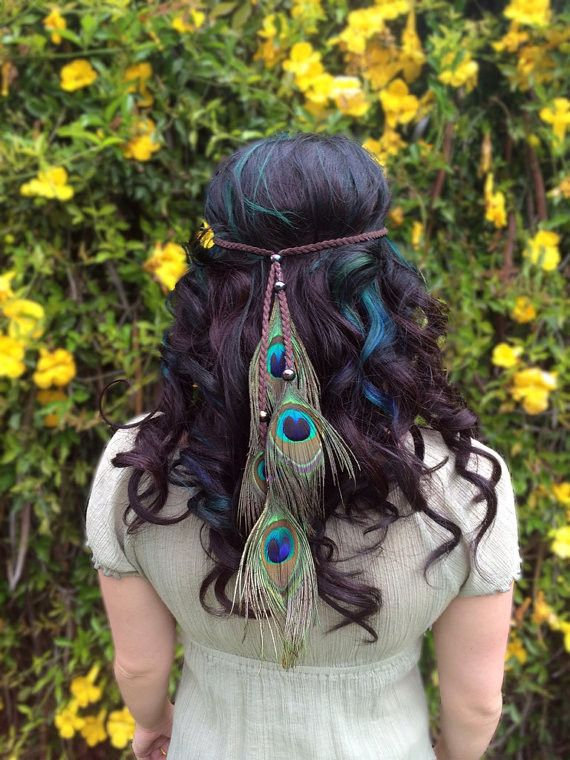 Beautiful Peacock Feather Headband On Braided Brown Leather String With Matching Shimmer Beads. Lightweight And Comfortable. Adjustable To Every Head Size. Great For Parties, Music Festivals, Raves, A