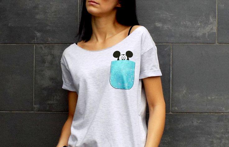 """t-shirt luźny fason MALOWANE KIESZONKI """"MYSZKA"""" - AK-Creativo - Koszulki z napisami"""