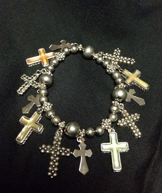 Beautiful Silver cross charm bracelet