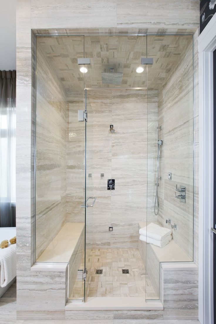 Sand toned marble #tile is the perfect choice for this luxurious, spa-like shower! #TileSensations