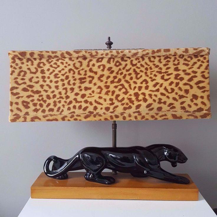 Vintage Royal Haeger Black Panther TV Lamp w/ Original Leopard Shade 1940's 50's #RoyalHaeger