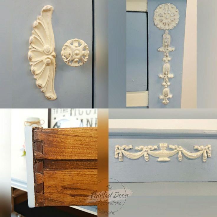 Detailed shots of the Antique Louis Blue Dresser.