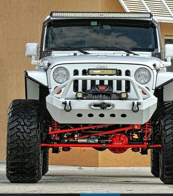 MODIFIED LIFTED JEEP JK WITH PERSONALIZED BUMPER