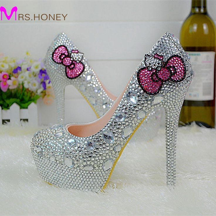 Hello Kitty Silver Rhinestone Bridal Wedding Shoes Graudation Party Prom High Heel Shoes Formal Dress Pumps Plus Size-in Women's Pumps from Shoes on Aliexpress.com | Alibaba Group