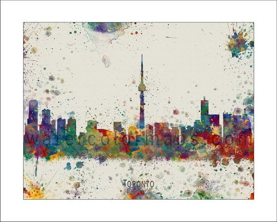 TORONTO Skyline, Painted Maps, Splatter Art, Wall Maps, ONTARIO Map, CANADA on Etsy, $18.50