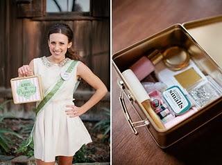 emergency bridal kits - http://greenweddingshoes.com/a-girl-scout-inspired-bridal-shower/