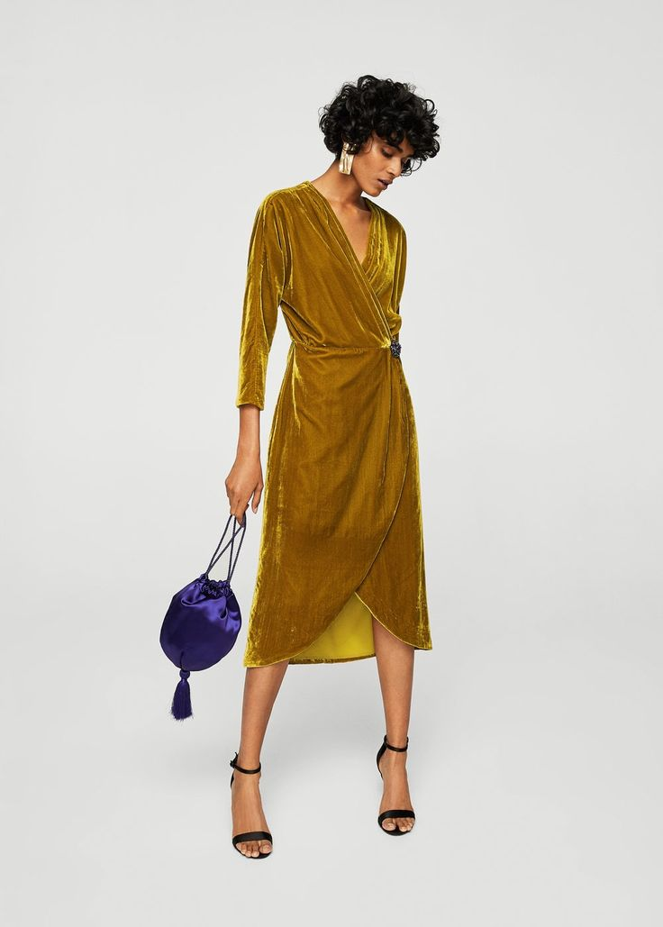 Velvet crossed dress | MANGO