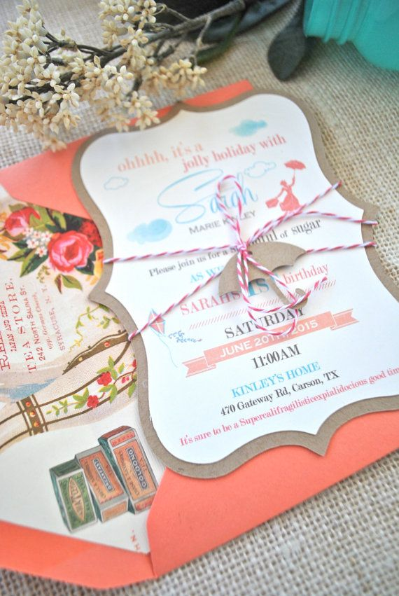 Umbrella Mary Poppins Birthday Invitation by OuttheBoxCreative