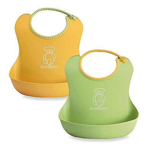 BABY BJORN. These things are great for catching food and clean easily. We love our have so many different colors and the babies like them too. Yet are also dishwasher safe.