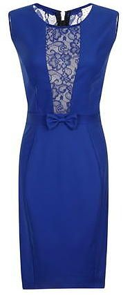 Womens electric blue paper dolls blue lace insert dress- blue from Dorothy Perkins - £50 at ClothingByColour.com
