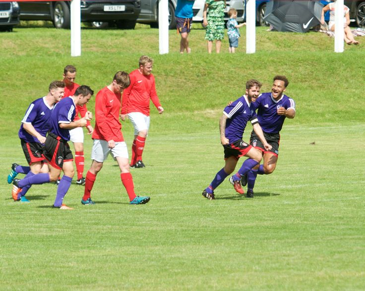 Captain Dykes wheels away after restoring The Purps lead away at Chadderton on the opening day of our league campaign