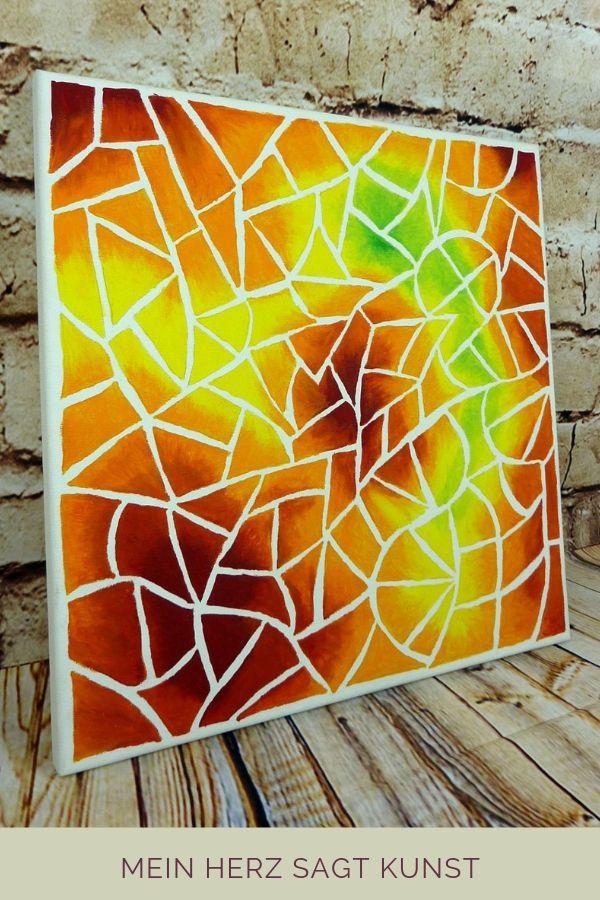 Acrylbild Mit Mosaik Optik Idee Zum Malen Mein Herz Sagt Kunst