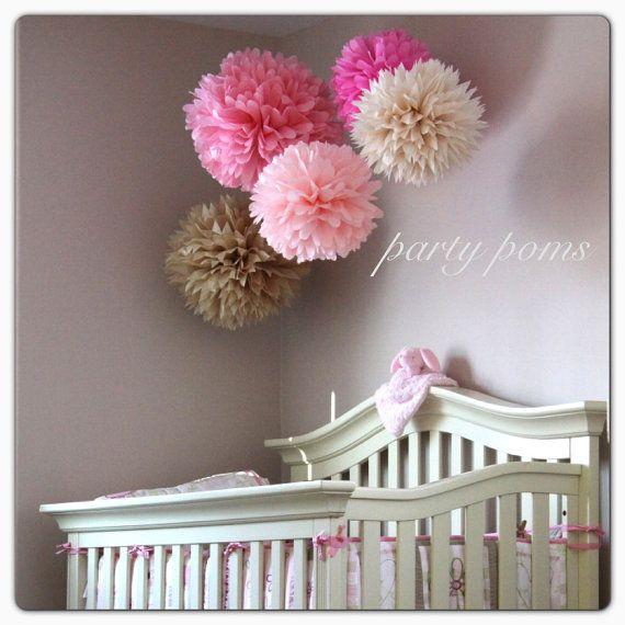 Lovely .. Tissue Paper Pom Poms .. set of 10 .. Wedding Decoration .. Bridal Shower .. Party Decoration .. DIY