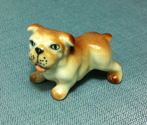 Miniature Ceramic Dog Bulldog Standing Animal Cute Little Tiny Small Brown Orange White Figurine Sta In 2020 Dog Gifts Ceramic Animals Dinosaur Stuffed Animal