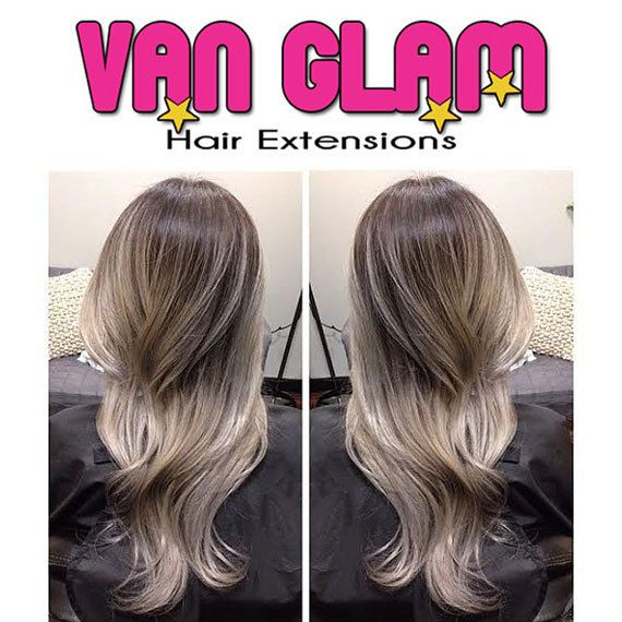 dark ash brown silver gray balayage halo flip in hair