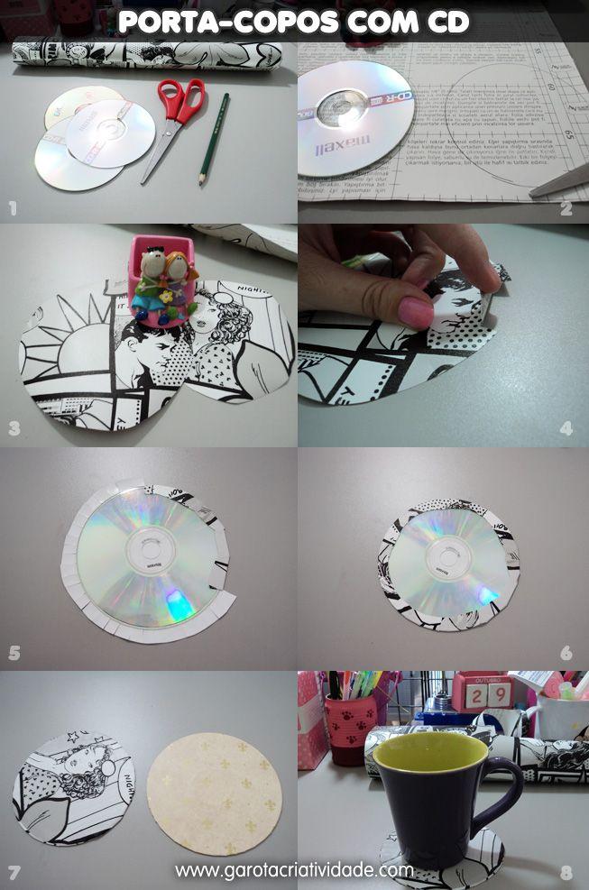 Confira em um passo a passo exclusivo como reciclar CD transformando um CD antigo em porta-copos. Dica fácil e rápida de reciclagem de CD para você!