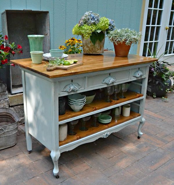 Versatile kitchen island or display stand made out of repurposed dresser. The shelves are wonderful for display and storage. http://amzn.to/2keVOw4