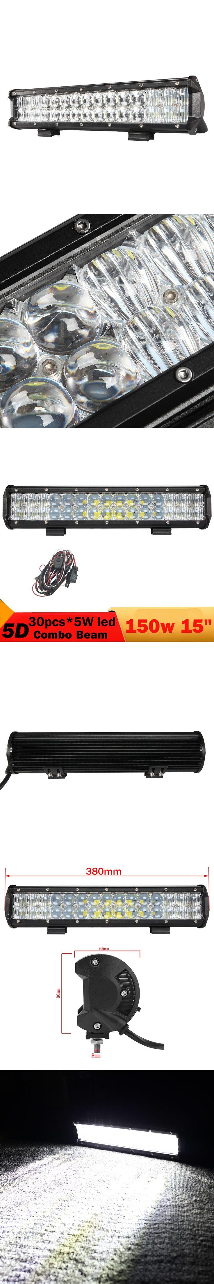 5D 150W Offroad LED Work Light Bar 15'' Combo Car Auto SUV Boat 4WD 4X4 ATV UTB Boat Wagon Pickup Truck Trailer Headlamp 12V 24V