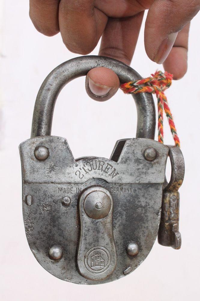 Antique Vintage Beautiful shape 2 TOUREN Iron Padlock, German Padlock working