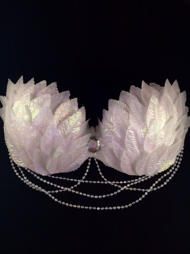 Made to order, sizes A-C. Layered with iridescent leaves, an iridescent rhinestone centerpiece and iridescent hanging pearls. Comes with removable straps.
