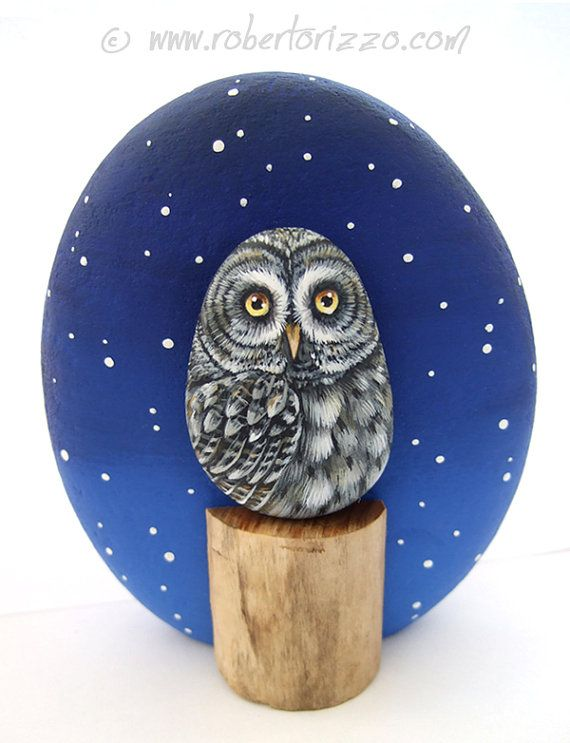 Hand Painted Great Grey Owl Rock!  A Unique Piece of Art and a great Gift Idea for all of you, owl lovers!    A pebble owl and a trunk section
