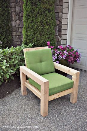 Nice DIY Modern Rustic Outdoor Chair Plans Using Outdoor Cushions From Target.