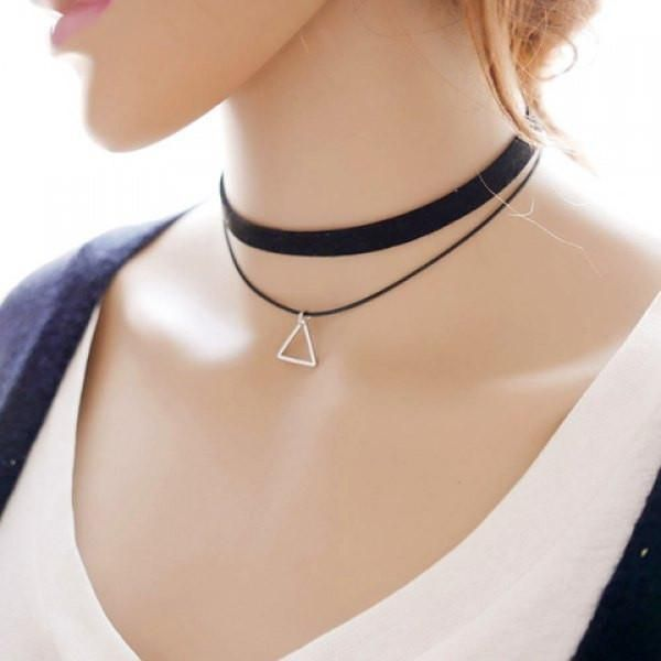 Simple Style Layered Triangle Choker Necklace For Women