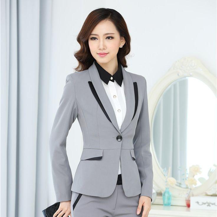 Formal Feminino Gray Blazer Women Blaser  2015 Winter Jacket Ladies Office Uniform Styles Jaqueta Esporte Elegant Free Shipping