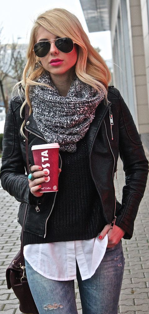 Turn a preppy outfit casual with Black leather jackets with a big grey scarf.