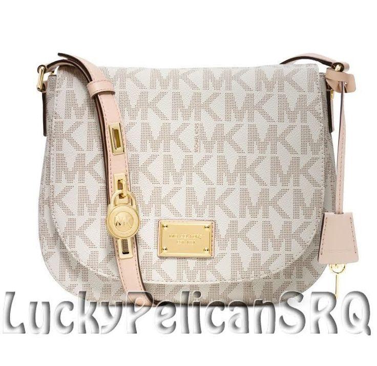 Michael Kors Hamilton MK Signature PVC Large Messenger Crossbody Bag  Vanilla NWT #MichaelKors #MessengerCrossBody