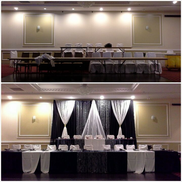 black and white backdrop before and after; Stephanie and Kevin's wedding, Oct 24, 2015