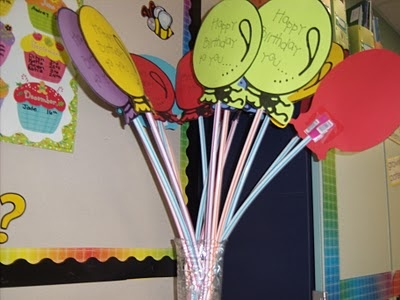 Happy birthday balloon taped to a  pixie stick!  LOVE this!!  Tis would be perfect for B to give to his class mates on their birthdays!  Simple, inexpensive, and thoughtful.  :)