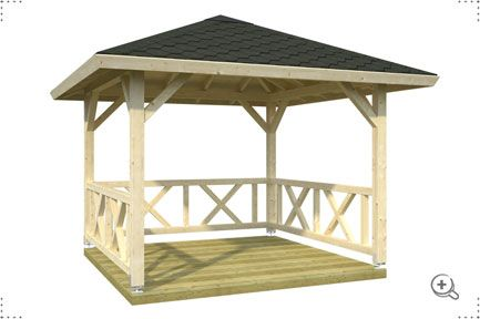 Square wooden garden gazebe - attractive timber garden gazebo made from high quality timber