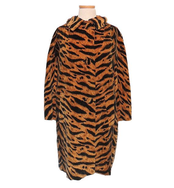 1960s Lawrence of London Tiger Stripe Velveteen Jacket Weather Resistant Fabric by Crompton Made in the USA Large