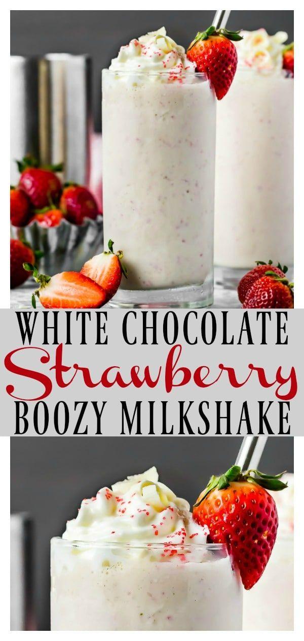 This Strawberry White Chocolate Boozy Milkshake tastes just like a white chocola…