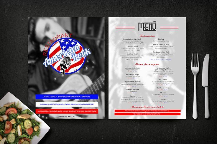 La decoración de American Rock se basa la  en la música de los años 50. Por ello, en la parte delantera de la carta tenemos al Rey del Rock and Roll, Elvis Preysler. Y por la parte trasera, a la Reina del Rock, Tina Turner. Además, la tipografía se basa en las radios Nordmende, tan populares en Estados Unidos en los 50. #menu #food #design #graphic #graphicdesign #photography #elvispresley #tinaturner #rockandroll #Rock #america #eeuu #eeuu🇺🇸 #flyer #music #art #instaart #arte