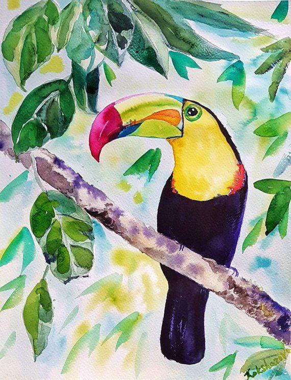 Keel Billed Toucan Original Watercolor Painting Tropical Bird