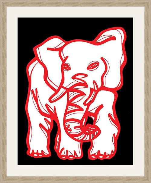 "Mineo Red White Elephant 22″ x 28″ Framed Print Natural Oak 22"" X 28"" Framed Print.  Natural Oak Barnwood Frame.  High Quality.  Ready to Hang.  Frame Size: 28 X 34.  Artwork by Eddie Alfaro.  Crystal clear, elegant, and pure.  Super vivid colors in High Definition.  Art Print, Framed Art Print, Artwork, Home Decor, Interior Design, Wall Art…"