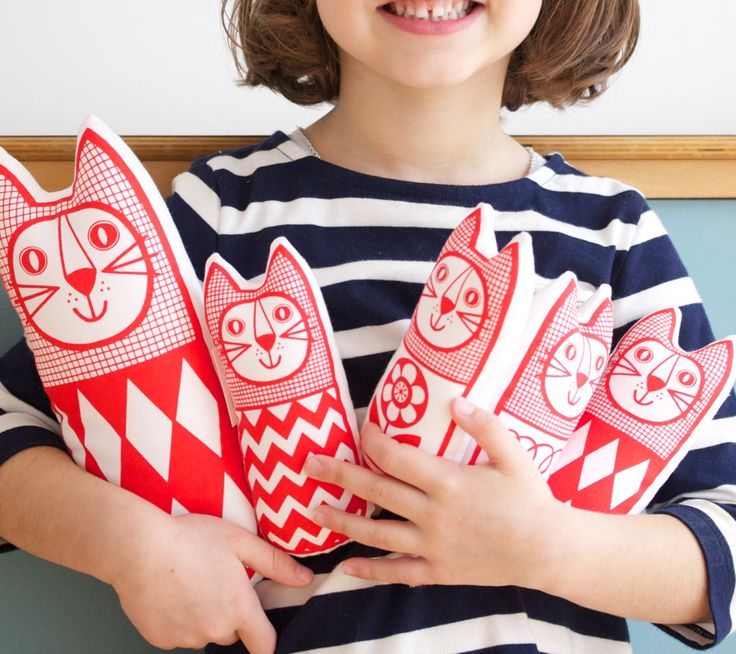 Screen Printed Scandinavian Toy Kit To Make 6 x Cats by Jane Foster plush toys. $32.00, via Etsy.