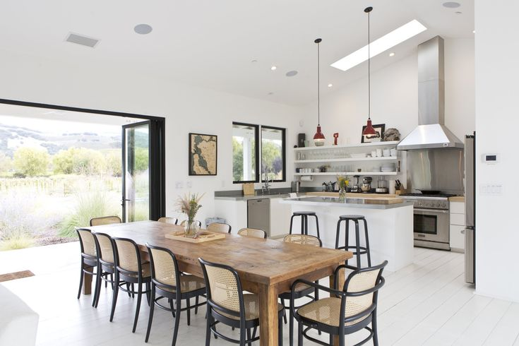 The kitchen of the Avril/Gelfand home. Architect Nick Lee customized the design for this house, working off plans he created for Houseplans.com, an online retailer of architectural blueprints. #California #Kitchen #Modern #WineCountry #FarmHouse #Farm #Bright #White #Home #HarvestTable