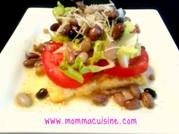 Fried Polenta & Mixed Bean Salad #Recipe by Momma Cuisine. www.mommacuisine.com